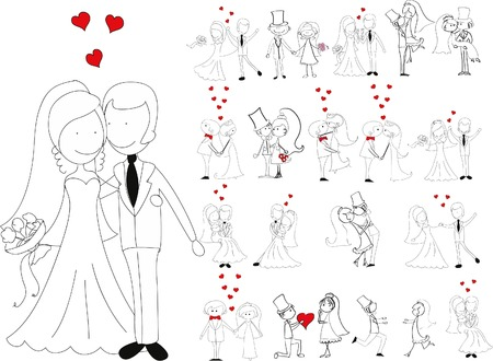 Set van trouwfoto's, bruid en bruidegom in de liefde