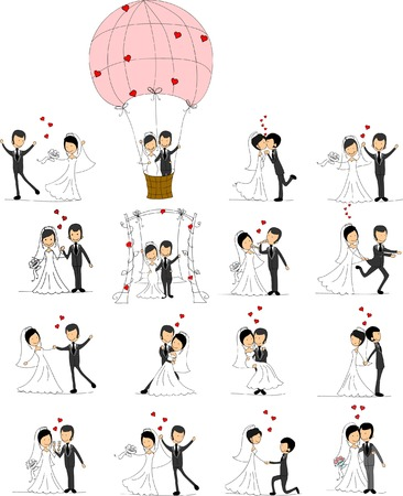 bride: Set of wedding pictures, bride and groom in love Illustration