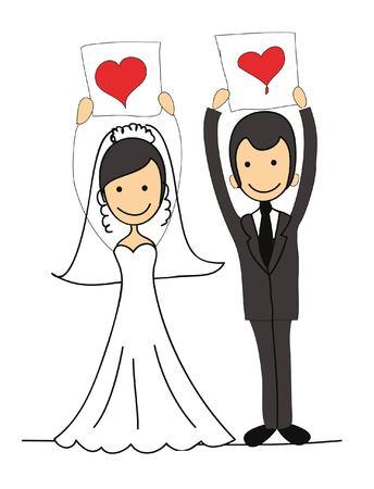 wedding bride: Set of wedding pictures, bride and groom in love Illustration