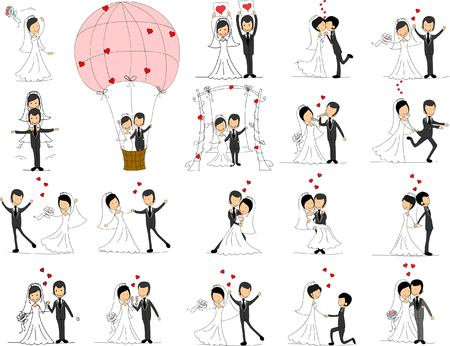 Set of wedding pictures, bride and groom in love 向量圖像