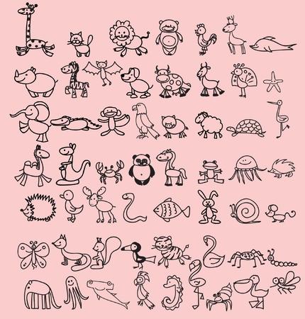 Set of cute doodle cartoon animals 向量圖像