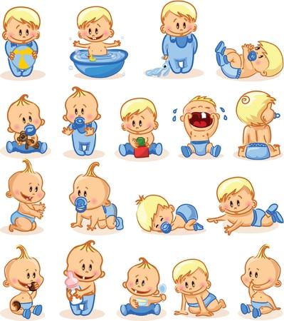 promenade: Vector illustration of baby boys