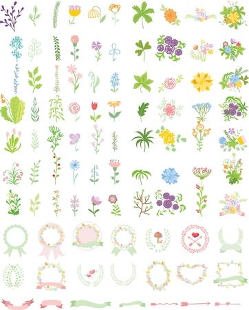 Set of wedding graphic set- wreath, flowers Ilustrace