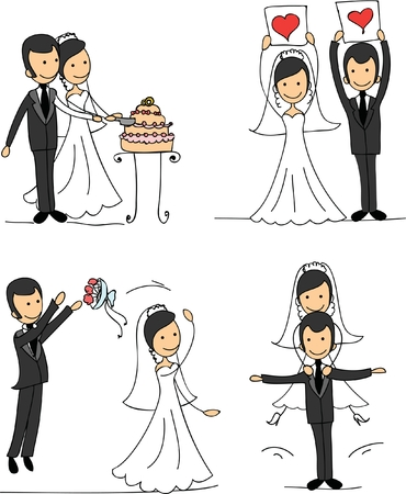 wedding love: Set of wedding pictures, bride and groom in love Illustration