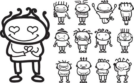 Kinderzeichnungen von doodle verschiedene Emotionen Standard-Bild - 63674527