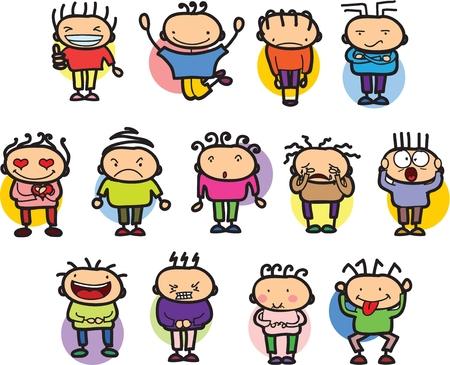 Kinderzeichnungen von doodle verschiedene Emotionen Standard-Bild - 63674529