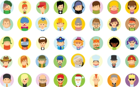 blonde teenager: Set of cute vector characters, avatar icons in flat design
