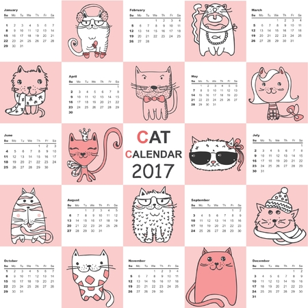 event planner: Calendar 2017. Cute cats for every month. Illustration