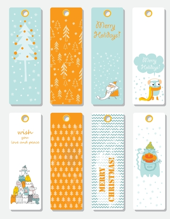 Collection of 8 Christmas card tags templates.