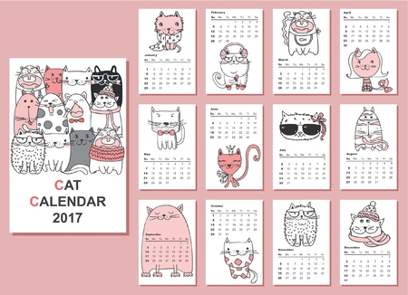 months: Calendar 2017. Cute cats for every month