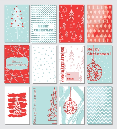 coordinated: Collection of 12 Christmas card templates. Illustration