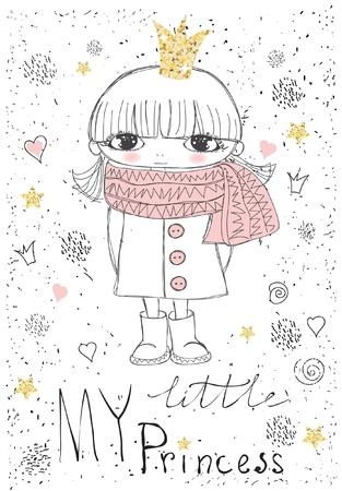 little princess: Cute little princess girl Illustration