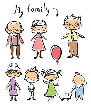 childrens doodle of happy family.