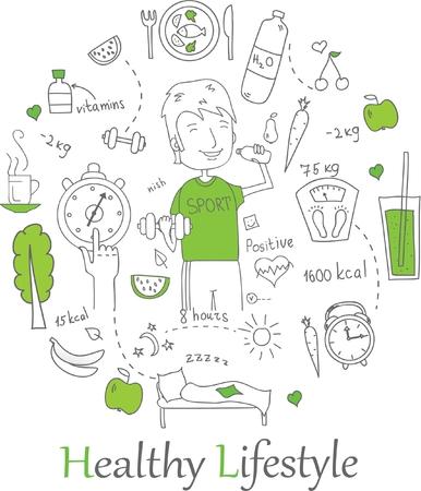 Doodle line banners of Healthy lifestyle Illusztráció