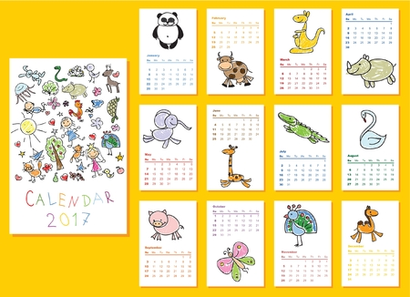 monthly planner: Calendar 2017. Cute doodle animals for every month.