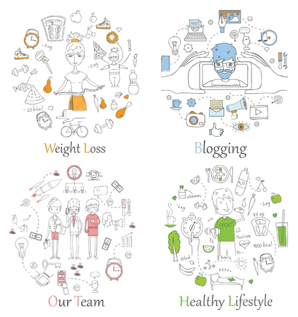 Doodle line banners of Healthy lifestyle, Blogging