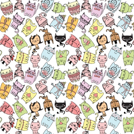 Vector cute cat seamless pattern Ilustração