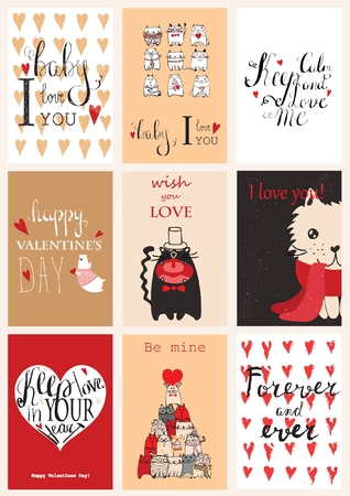 fourteen: Valentines greeting cards with cute animals. Illustration