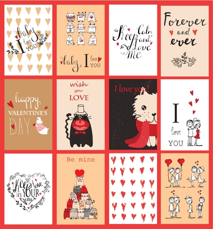 Valentines greeting cards with cute animals. Illustration