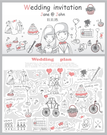 Doodle line design of web banner template with
