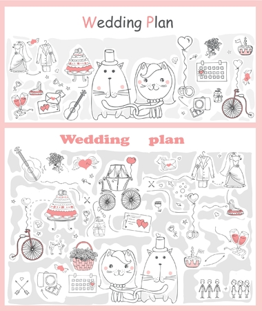 love story: Doodle line design of web banner template with outline