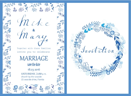Doodle line design of wedding invitation Ilustração