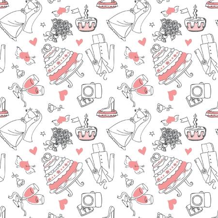 love story: Wedding Doodle line seamless pattern for design Illustration