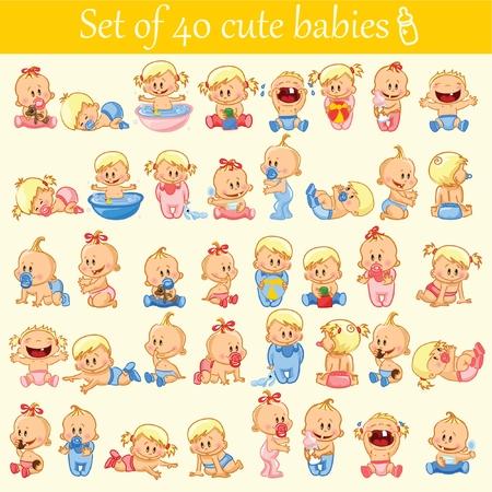 Vector illustration of baby boys and girls. Illustration