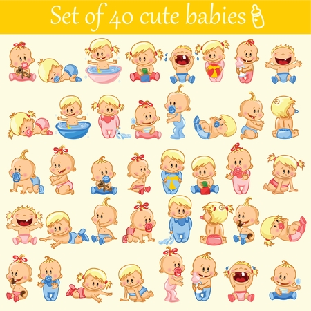 hysterical: Vector illustration of baby boys and girls. Illustration