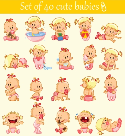hysterical: Vector illustration of baby girls.