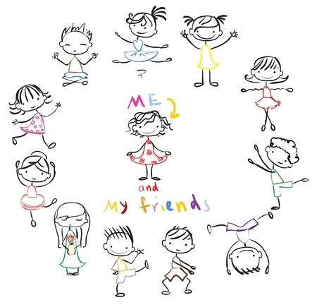 happy kids: Cute doodle happy cartoon kids