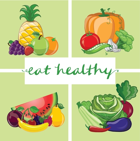Text on green background with different fruits