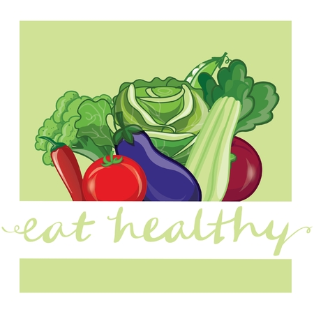eat healthy: Eat healthy. Banner with hand-lettering
