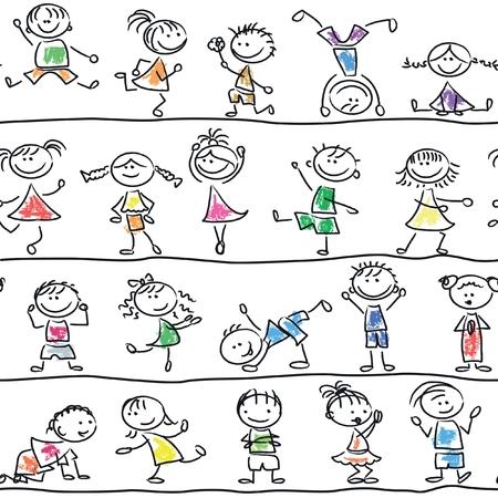 happy kids cartoon: Cute doodle happy cartoon kids seamless pattern Illustration