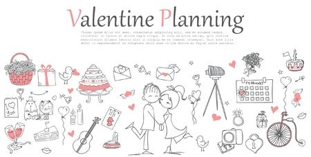 웹 배너 템플릿의 발렌타인 데이 낙서 라인 디자인