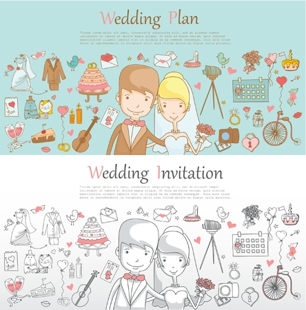 love story: Doodle line design of web banner template with