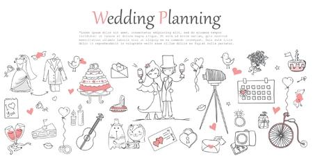 Doodle line design van web banner template