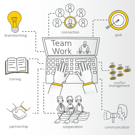team concept: Vector concept of team work with Info Graphic Illustration