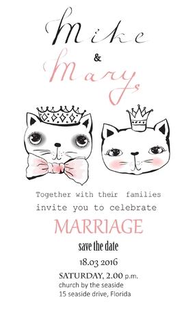 Cartoon wedding picture for invitation with cute cats Ilustração
