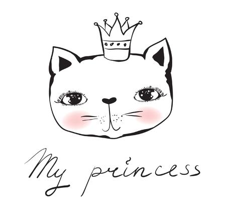 Vector doodle cute cat avatar princess Illustration