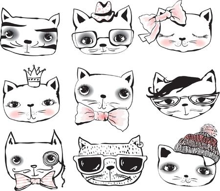 Set of cute cats portraits Ilustração