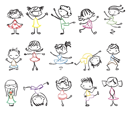 cute cartoon kids: Cute doodle happy cartoon kids