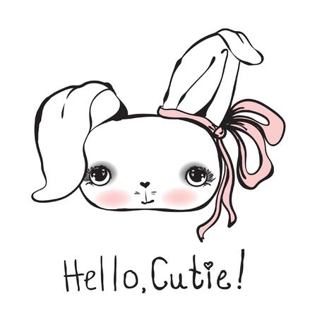 귀여운 토끼 소녀 벡터 일러스트 레이 션 안녕 큐티