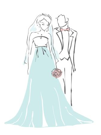 wedding bride: Silhouette of bride and groom. Wedding background