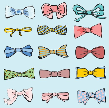 official wear: Set of hand-drawn neckties