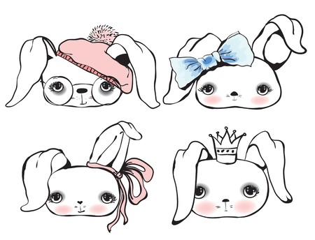 warm clothing: Set of cute rabbit portraits