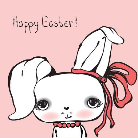 cute girl: Cute rabbit girl portrait