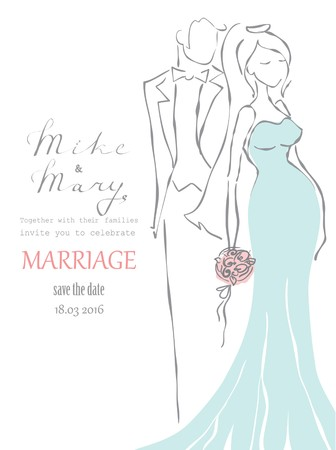wedding bride: Silhouette of bride and groom. Wedding background.