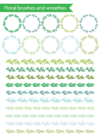 frame border: Big set of hand drawn floral wreaths and brushes. Illustration