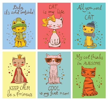Schede vettoriali con gatti carini.